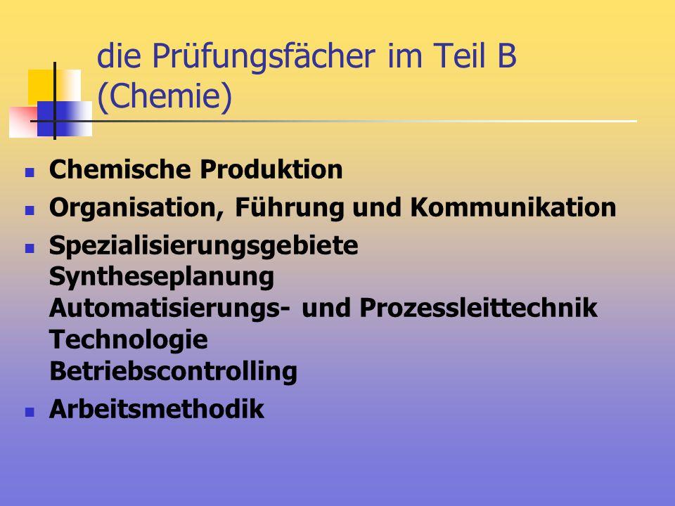 die Prüfungsfächer im Teil B (Chemie) Chemische Produktion Organisation, Führung und Kommunikation Spezialisierungsgebiete Syntheseplanung Automatisie
