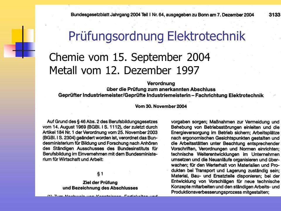 Prüfungsordnung Elektrotechnik Chemie vom 15. September 2004 Metall vom 12. Dezember 1997