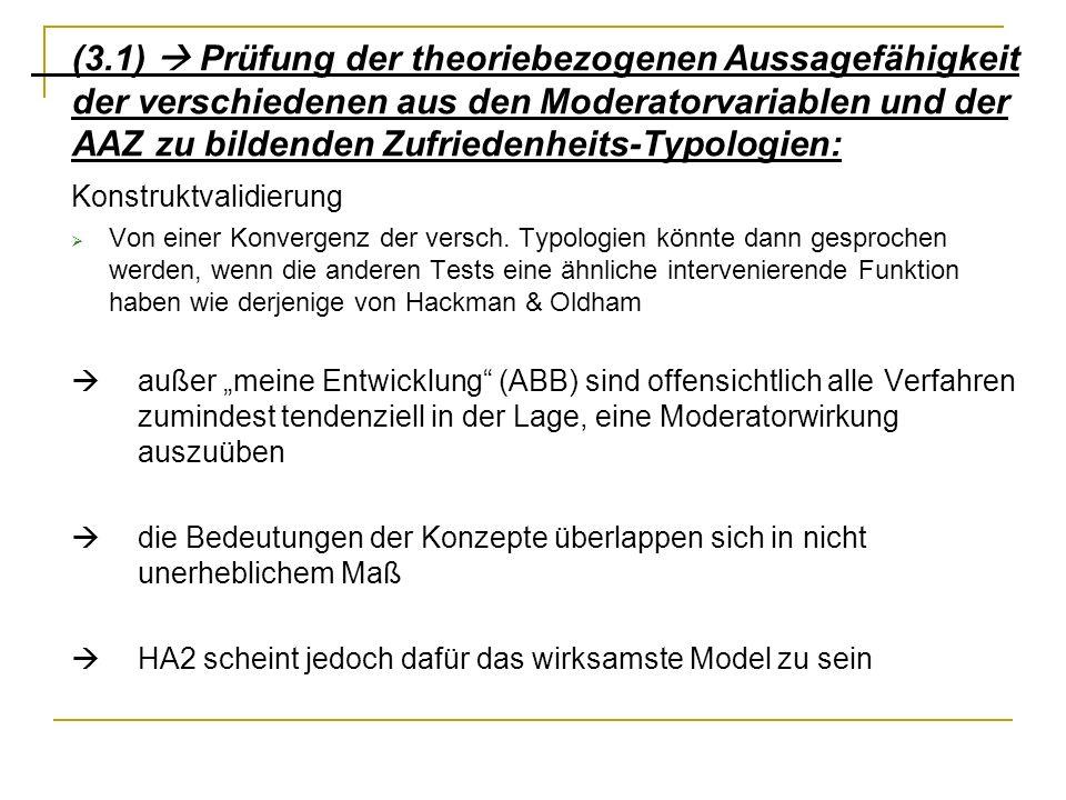 (3.1) Prüfung der theoriebezogenen Aussagefähigkeit der verschiedenen aus den Moderatorvariablen und der AAZ zu bildenden Zufriedenheits-Typologien: K