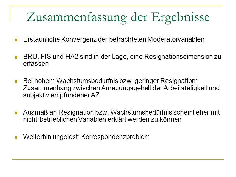 Zusammenfassung der Ergebnisse Erstaunliche Konvergenz der betrachteten Moderatorvariablen BRU, FIS und HA2 sind in der Lage, eine Resignationsdimensi