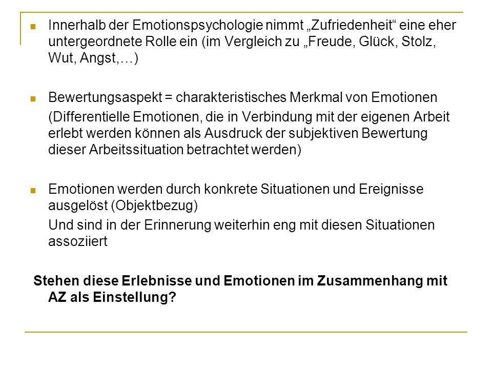 Innerhalb der Emotionspsychologie nimmt Zufriedenheit eine eher untergeordnete Rolle ein (im Vergleich zu Freude, Glück, Stolz, Wut, Angst,…) Bewertun