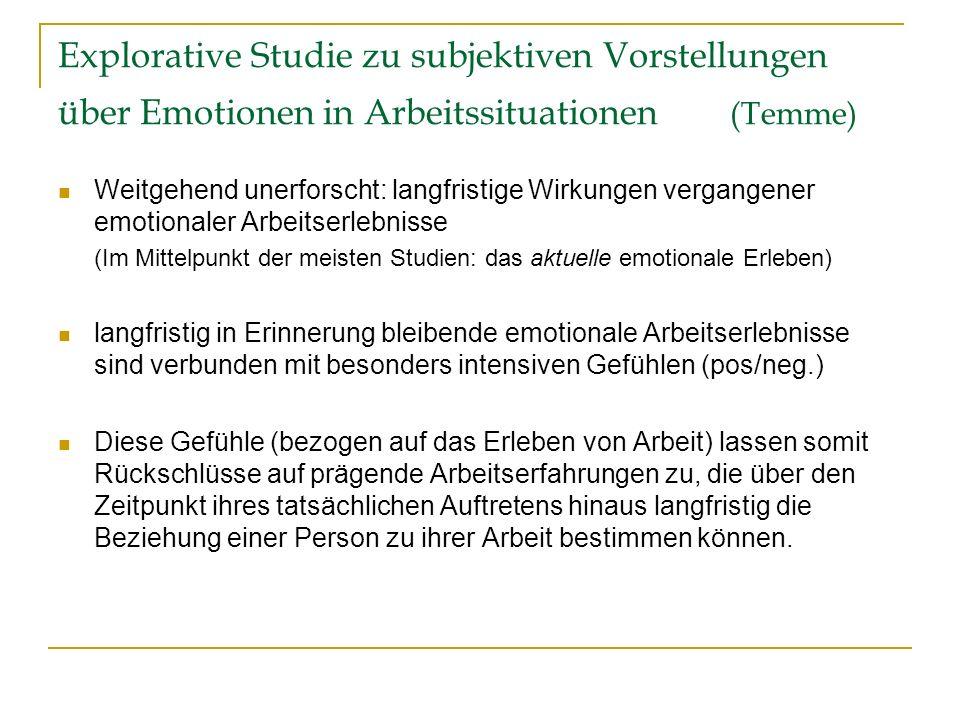 Explorative Studie zu subjektiven Vorstellungen über Emotionen in Arbeitssituationen (Temme) Weitgehend unerforscht: langfristige Wirkungen vergangene