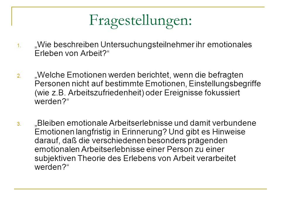 Fragestellungen: 1. Wie beschreiben Untersuchungsteilnehmer ihr emotionales Erleben von Arbeit? 2. Welche Emotionen werden berichtet, wenn die befragt
