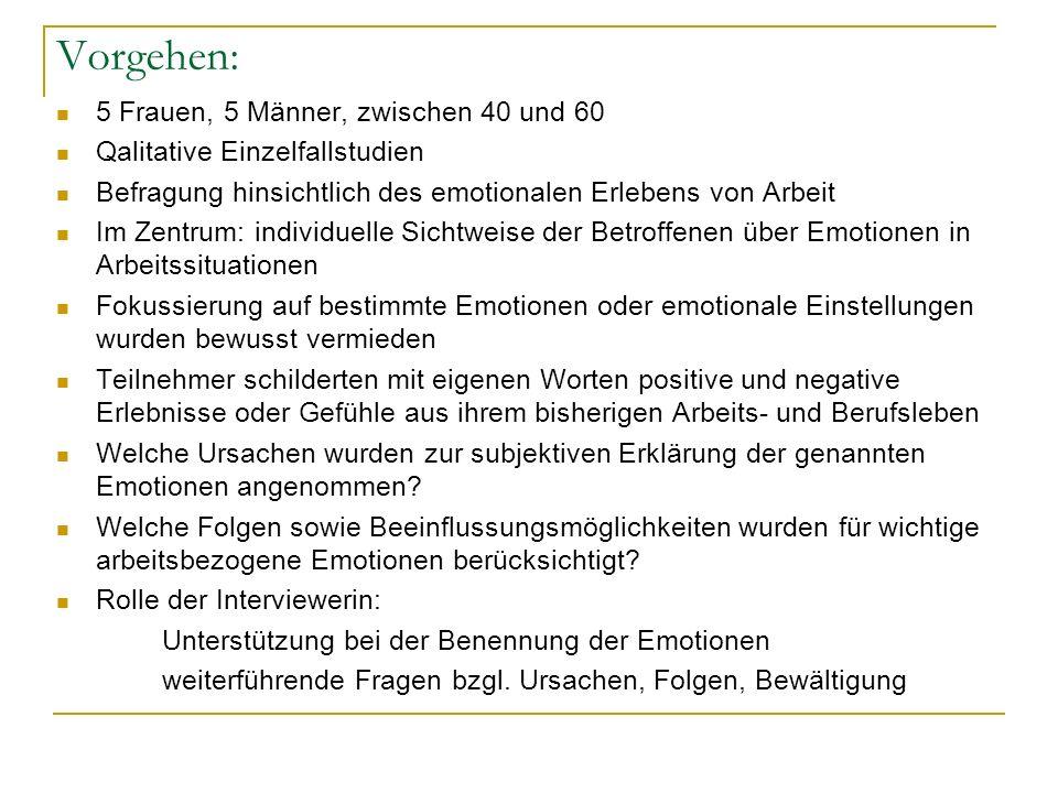 Vorgehen: 5 Frauen, 5 Männer, zwischen 40 und 60 Qalitative Einzelfallstudien Befragung hinsichtlich des emotionalen Erlebens von Arbeit Im Zentrum: i
