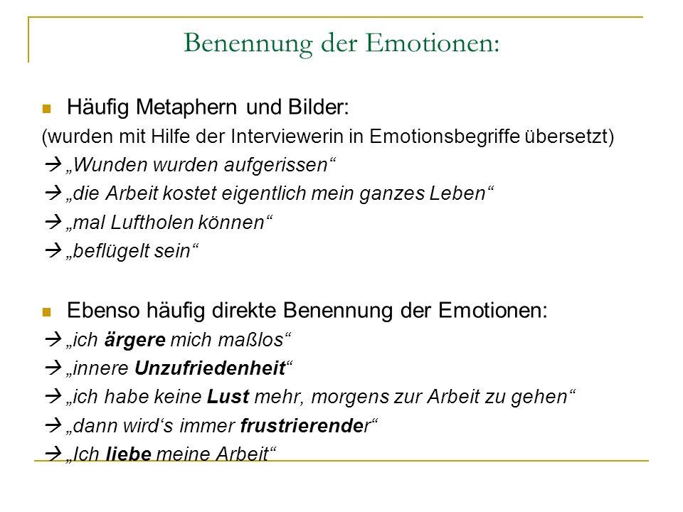 Benennung der Emotionen: Häufig Metaphern und Bilder: (wurden mit Hilfe der Interviewerin in Emotionsbegriffe übersetzt) Wunden wurden aufgerissen die