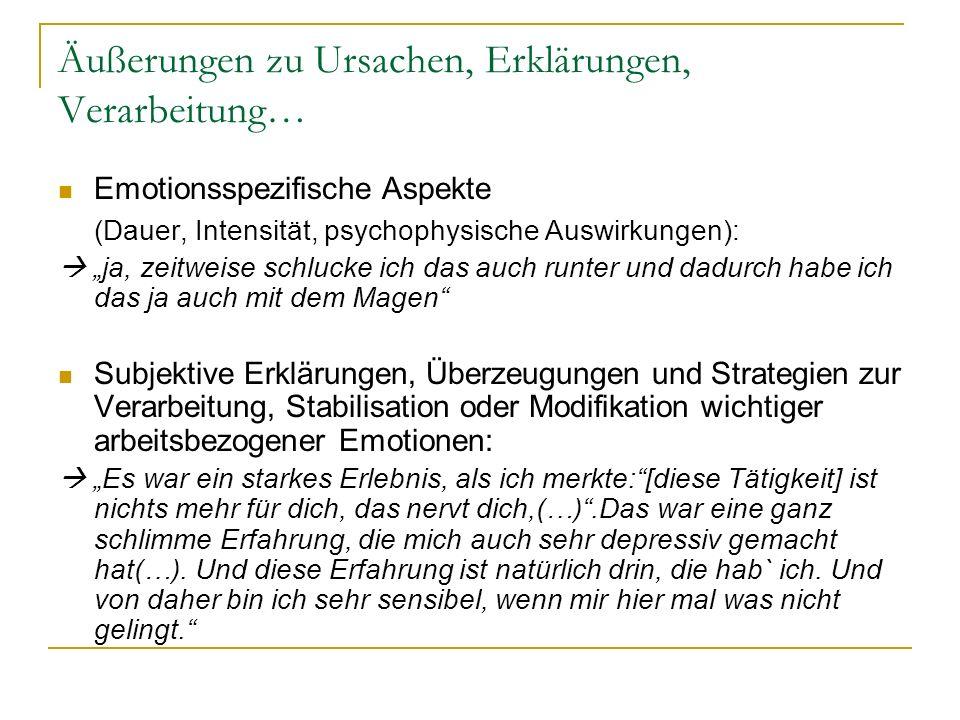 Äußerungen zu Ursachen, Erklärungen, Verarbeitung… Emotionsspezifische Aspekte (Dauer, Intensität, psychophysische Auswirkungen): ja, zeitweise schluc