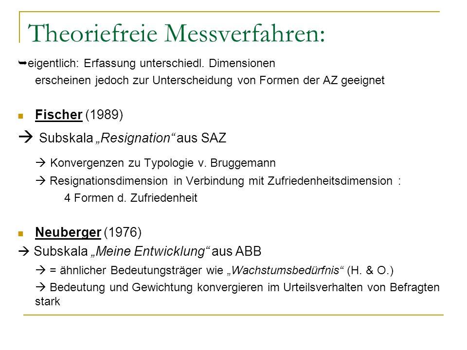 Theoriefreie Messverfahren: eigentlich: Erfassung unterschiedl. Dimensionen erscheinen jedoch zur Unterscheidung von Formen der AZ geeignet Fischer (1