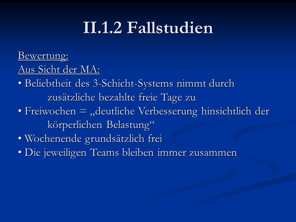 II.1.2 Fallstudien Bewertung: Aus Sicht der MA: Beliebtheit des 3-Schicht-Systems nimmt durch zusätzliche bezahlte freie Tage zu Beliebtheit des 3-Sch