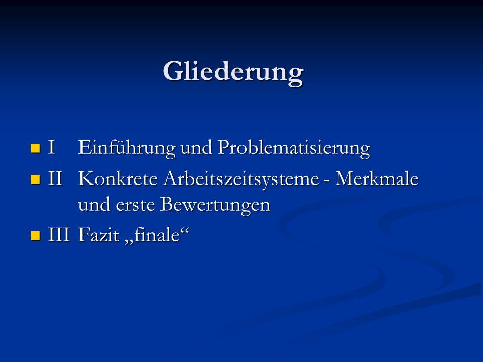 Gliederung I Einführung und Problematisierung I Einführung und Problematisierung II Konkrete Arbeitszeitsysteme - Merkmale und erste Bewertungen II Ko