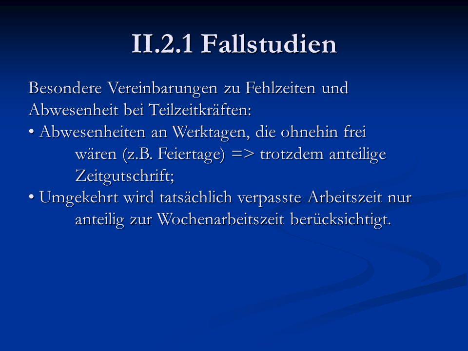 II.2.1 Fallstudien Besondere Vereinbarungen zu Fehlzeiten und Abwesenheit bei Teilzeitkräften: Abwesenheiten an Werktagen, die ohnehin frei wären (z.B
