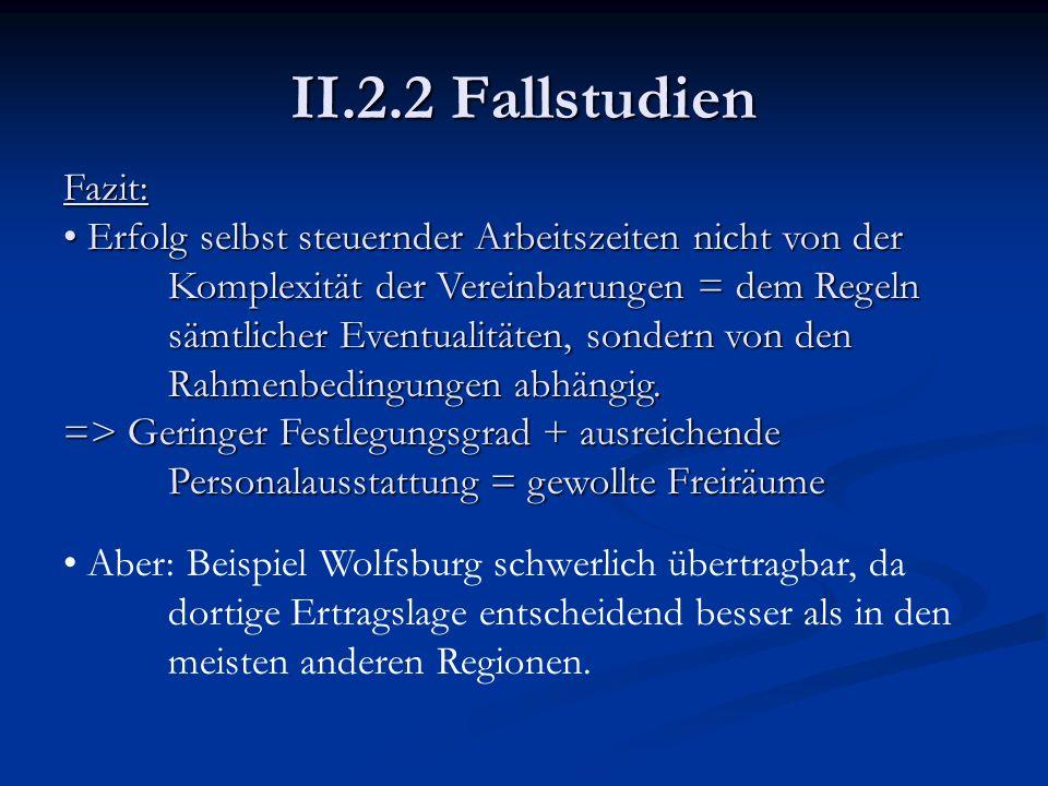 II.2.2 Fallstudien Fazit: Erfolg selbst steuernder Arbeitszeiten nicht von der Komplexität der Vereinbarungen = dem Regeln sämtlicher Eventualitäten,