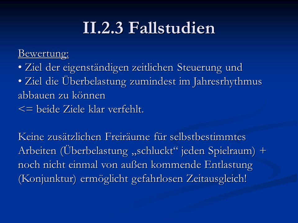 II.2.3 Fallstudien Bewertung: Ziel der eigenständigen zeitlichen Steuerung und Ziel der eigenständigen zeitlichen Steuerung und Ziel die Überbelastung
