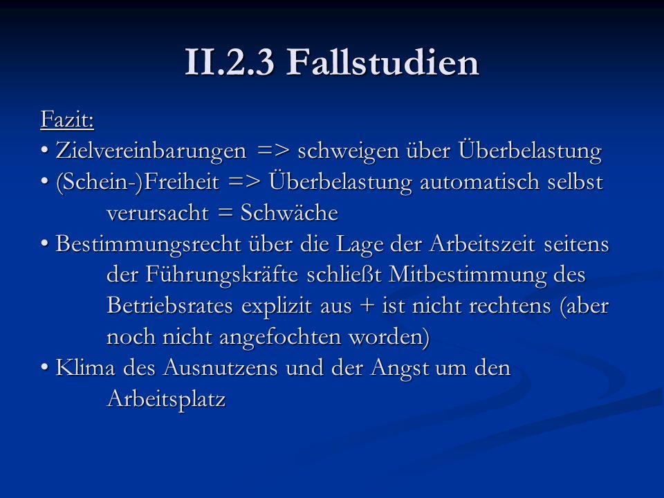 II.2.3 Fallstudien Fazit: Zielvereinbarungen => schweigen über Überbelastung Zielvereinbarungen => schweigen über Überbelastung (Schein-)Freiheit => Ü