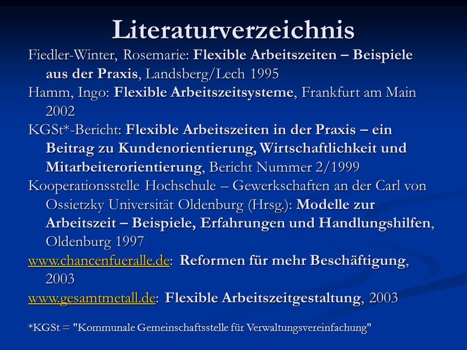Literaturverzeichnis Fiedler-Winter, Rosemarie: Flexible Arbeitszeiten – Beispiele aus der Praxis, Landsberg/Lech 1995 Hamm, Ingo: Flexible Arbeitszei