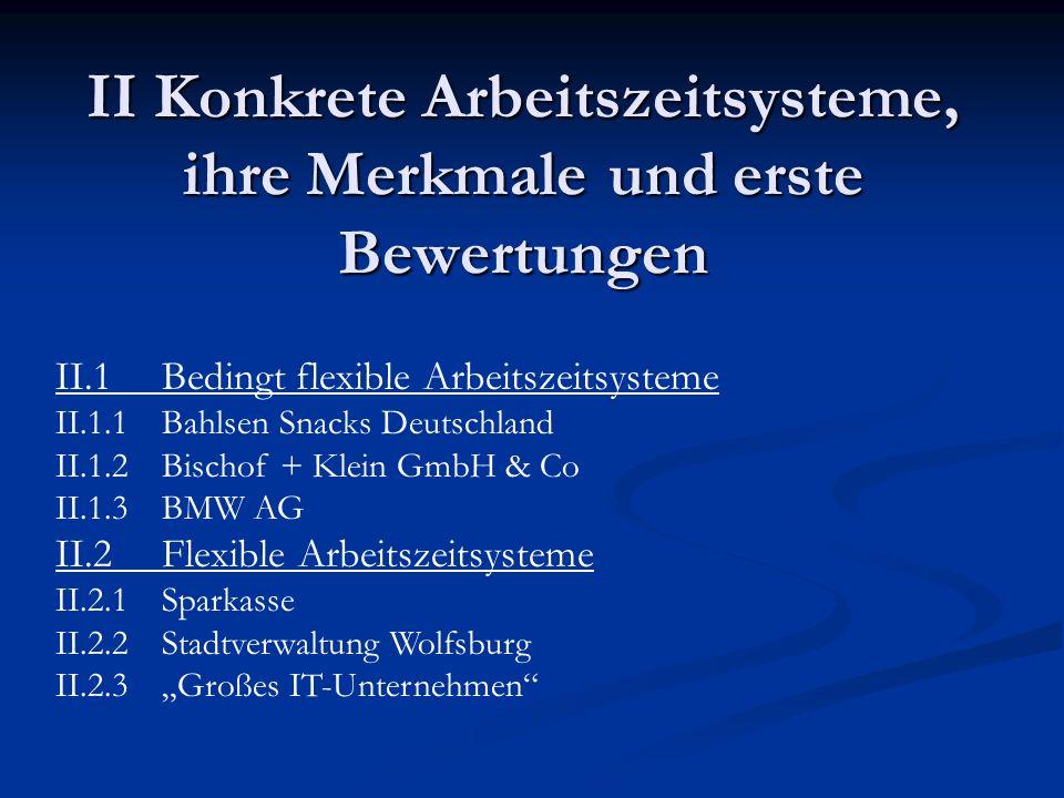 II Konkrete Arbeitszeitsysteme, ihre Merkmale und erste Bewertungen II.1 Bedingt flexible Arbeitszeitsysteme II.1.1Bahlsen Snacks Deutschland II.1.2Bi