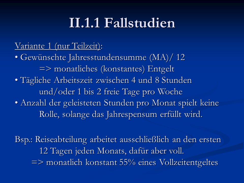 II.1.1 Fallstudien Variante 1 (nur Teilzeit): Gewünschte Jahresstundensumme (MA)/ 12 Gewünschte Jahresstundensumme (MA)/ 12 => monatliches (konstantes