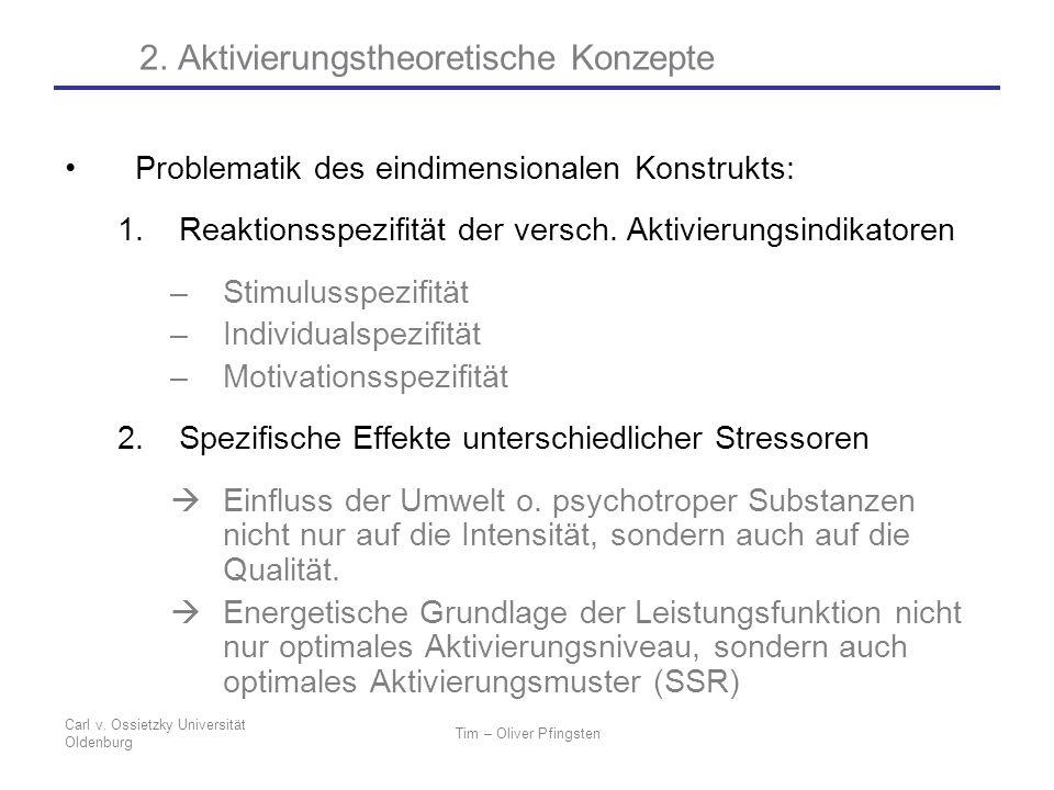 Carl v. Ossietzky Universität Oldenburg Tim – Oliver Pfingsten Problematik des eindimensionalen Konstrukts: 1.Reaktionsspezifität der versch. Aktivier