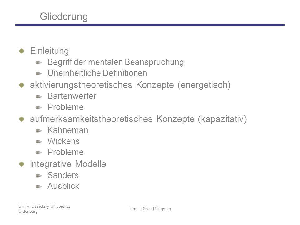 Carl v. Ossietzky Universität Oldenburg Tim – Oliver Pfingsten Gliederung Einleitung Begriff der mentalen Beanspruchung Uneinheitliche Definitionen ak