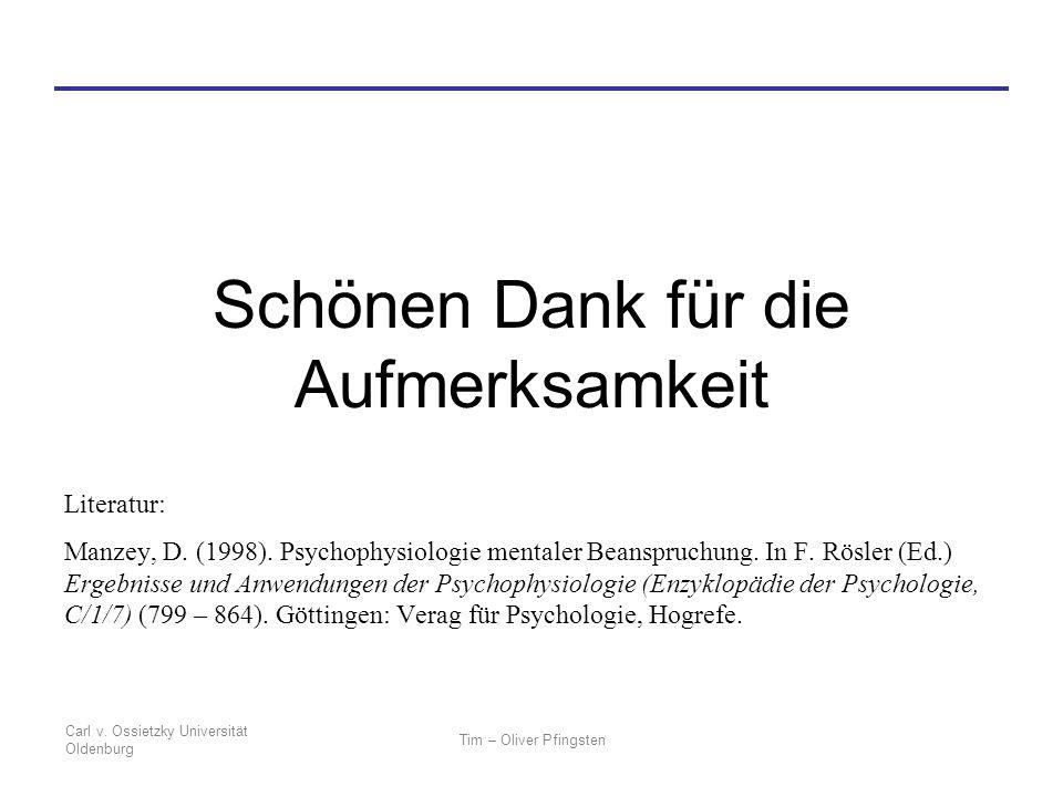 Carl v. Ossietzky Universität Oldenburg Tim – Oliver Pfingsten Schönen Dank für die Aufmerksamkeit Literatur: Manzey, D. (1998). Psychophysiologie men