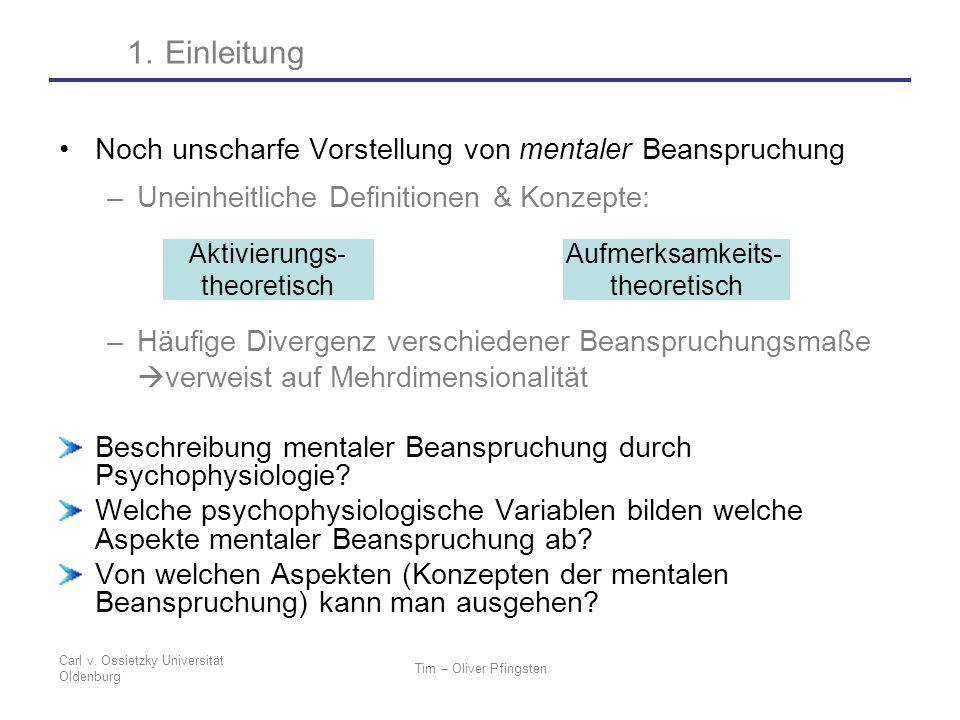 Carl v. Ossietzky Universität Oldenburg Tim – Oliver Pfingsten Noch unscharfe Vorstellung von mentaler Beanspruchung –Uneinheitliche Definitionen & Ko