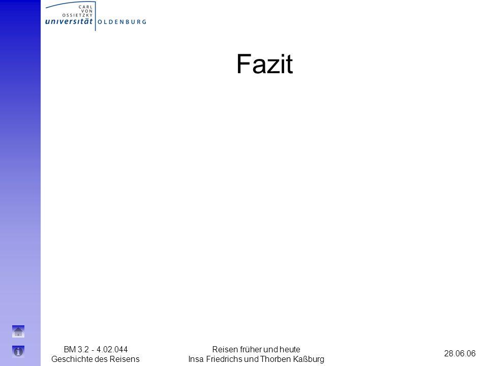 BM 3.2 - 4.02.044 Geschichte des Reisens 28.06.06 Reisen früher und heute Insa Friedrichs und Thorben Kaßburg Fazit