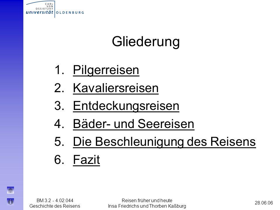 BM 3.2 - 4.02.044 Geschichte des Reisens 28.06.06 Reisen früher und heute Insa Friedrichs und Thorben Kaßburg Gliederung 1.PilgerreisenPilgerreisen 2.