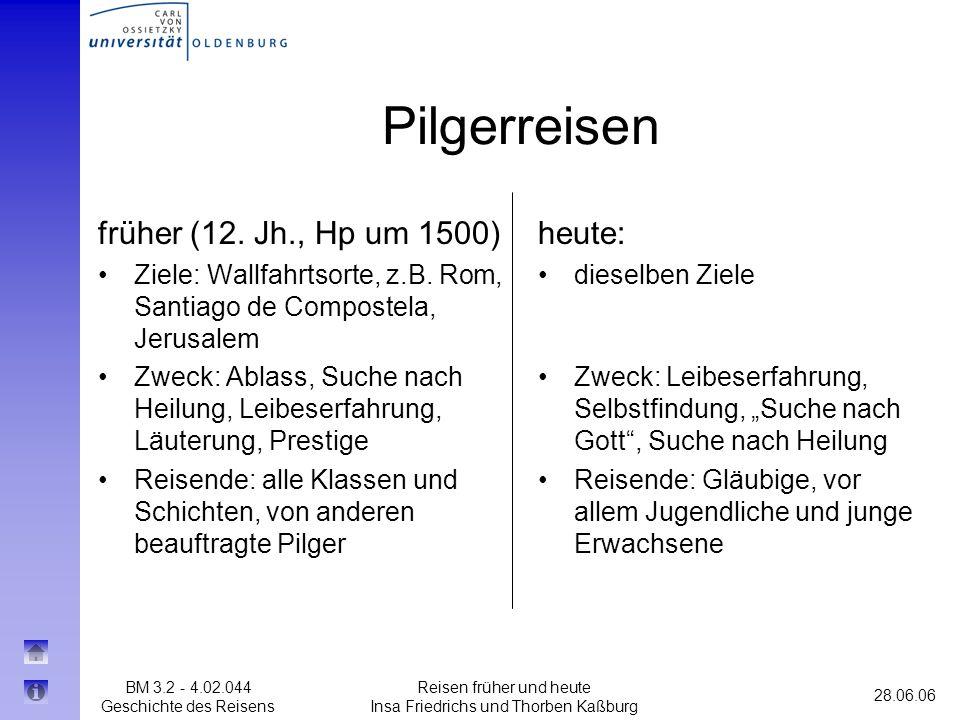 BM 3.2 - 4.02.044 Geschichte des Reisens 28.06.06 Reisen früher und heute Insa Friedrichs und Thorben Kaßburg Pilgerreisen früher (12. Jh., Hp um 1500