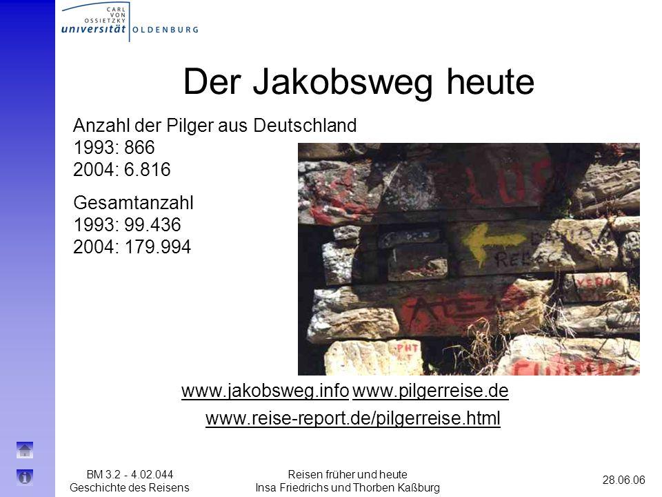 BM 3.2 - 4.02.044 Geschichte des Reisens 28.06.06 Reisen früher und heute Insa Friedrichs und Thorben Kaßburg Der Jakobsweg heute www.jakobsweg.infoww