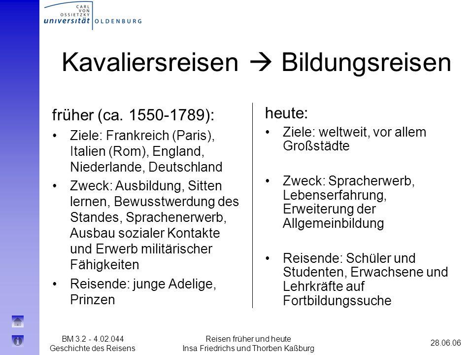BM 3.2 - 4.02.044 Geschichte des Reisens 28.06.06 Reisen früher und heute Insa Friedrichs und Thorben Kaßburg heute: Ziele: weltweit, vor allem Großst