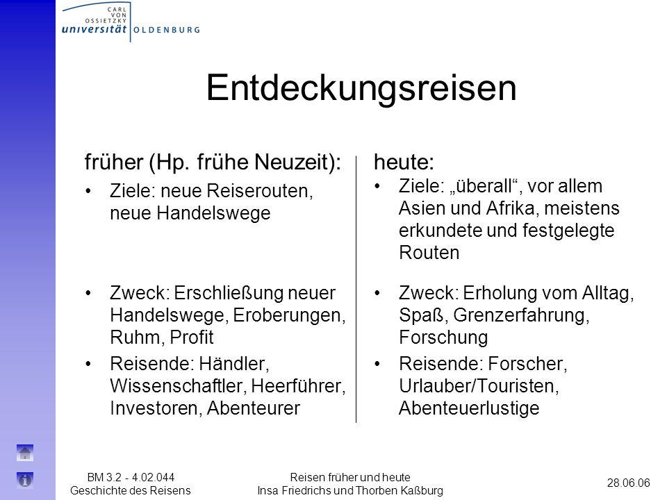 BM 3.2 - 4.02.044 Geschichte des Reisens 28.06.06 Reisen früher und heute Insa Friedrichs und Thorben Kaßburg Entdeckungsreisen heute: Ziele: überall,
