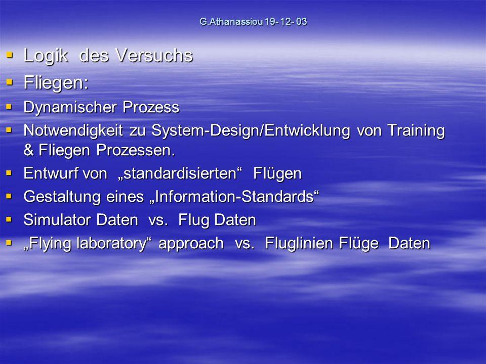 G.Athanassiou 19- 12- 03 Logik des Versuchs Logik des Versuchs Fliegen: Fliegen: Dynamischer Prozess Dynamischer Prozess Notwendigkeit zu System-Design/Entwicklung von Training & Fliegen Prozessen.