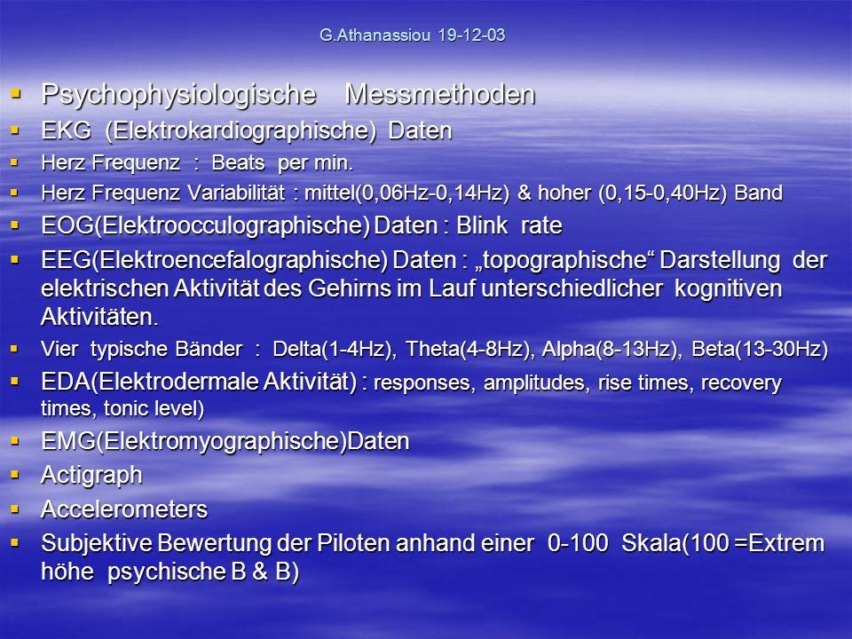 G.Athanassiou 19-12-03 Psychophysiologische Messmethoden Psychophysiologische Messmethoden EKG (Elektrokardiographische) Daten EKG (Elektrokardiographische) Daten Herz Frequenz : Beats per min.