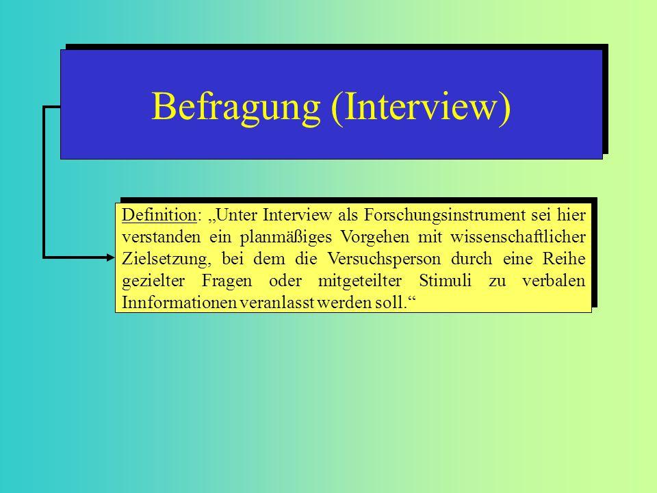 Definition: Unter Interview als Forschungsinstrument sei hier verstanden ein planmäßiges Vorgehen mit wissenschaftlicher Zielsetzung, bei dem die Vers