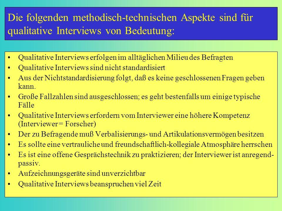 Qualitative Interviews erfolgen im alltäglichen Milieu des Befragten Qualitative Interviews sind nicht standardisiert Aus der Nichtstandardisierung fo