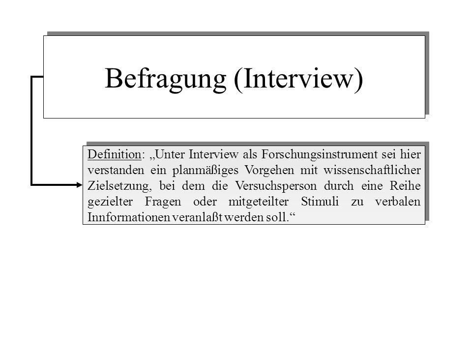 Befragung (Interview) Definition: Unter Interview als Forschungsinstrument sei hier verstanden ein planmäßiges Vorgehen mit wissenschaftlicher Zielsetzung, bei dem die Versuchsperson durch eine Reihe gezielter Fragen oder mitgeteilter Stimuli zu verbalen Innformationen veranlaßt werden soll.