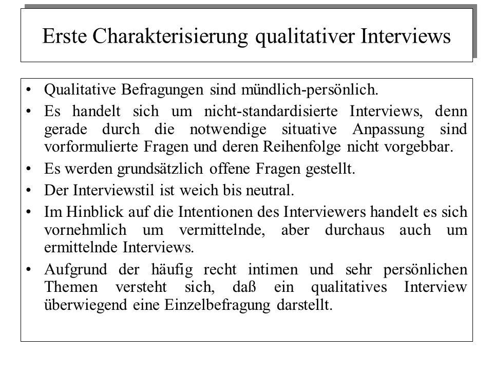 Erste Charakterisierung qualitativer Interviews Qualitative Befragungen sind mündlich-persönlich. Es handelt sich um nicht-standardisierte Interviews,