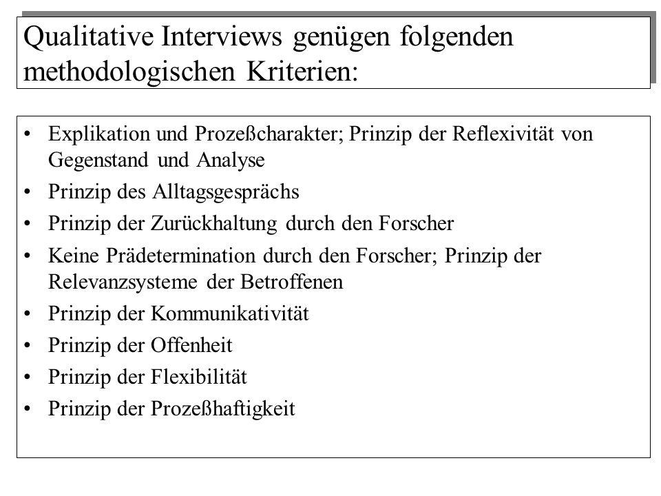 Qualitative Interviews genügen folgenden methodologischen Kriterien: Explikation und Prozeßcharakter; Prinzip der Reflexivität von Gegenstand und Anal
