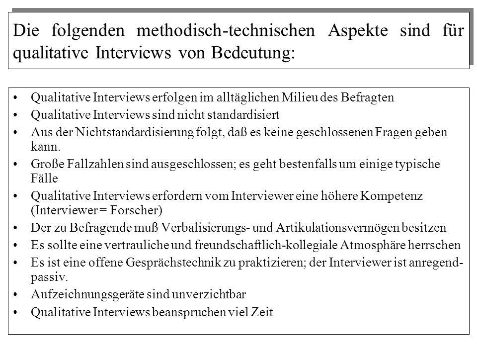Die folgenden methodisch-technischen Aspekte sind für qualitative Interviews von Bedeutung: Qualitative Interviews erfolgen im alltäglichen Milieu des