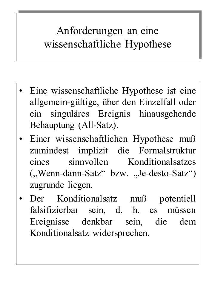 Anforderungen an eine wissenschaftliche Hypothese Eine wissenschaftliche Hypothese ist eine allgemein-gültige, über den Einzelfall oder ein singuläres