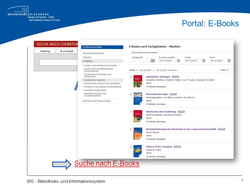 Portal: E-Books 1 BIS - Bibliotheks- und Informationssystem Suche nach E-Books