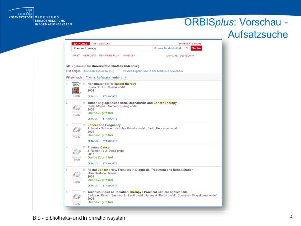 ORBISplus: Vorschau - Aufsatzsuche 4 BIS - Bibliotheks- und Informationssystem