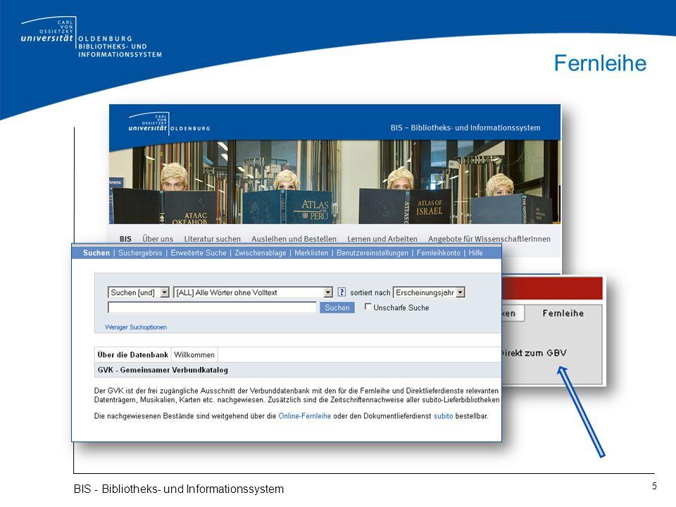 Bestand der Universitätsbibliothek: E-Zeitschriften 16 BIS - Bibliotheks- und Informationssystem Elektronische Zeitschriftenbibliothek