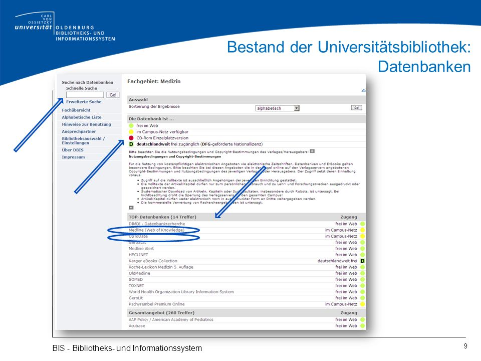 Bestand der Universitätsbibliothek: Datenbanken 10 BIS - Bibliotheks- und Informationssystem Ihre Login-Daten werden abgefragt, wenn Sie von außerhalb der Universität die Datenbank aufrufen!