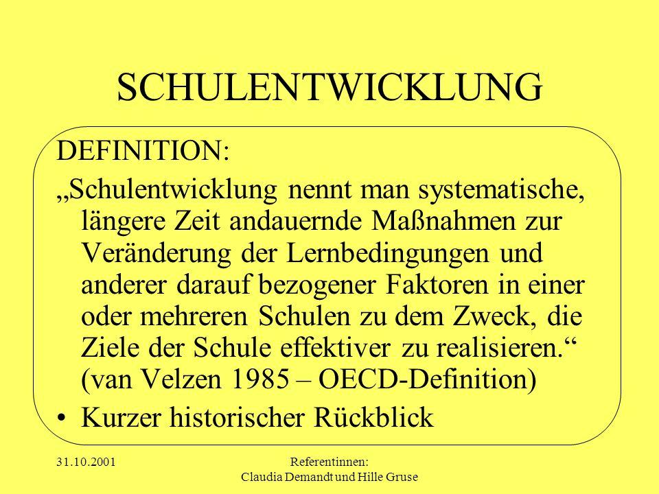 31.10.2001Referentinnen: Claudia Demandt und Hille Gruse SCHULENTWICKLUNG DEFINITION: Schulentwicklung nennt man systematische, längere Zeit andauernd