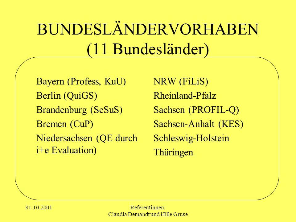 31.10.2001Referentinnen: Claudia Demandt und Hille Gruse BUNDESLÄNDERVORHABEN (11 Bundesländer) Bayern (Profess, KuU) Berlin (QuiGS) Brandenburg (SeSu