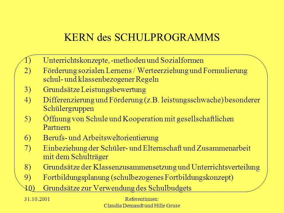 31.10.2001Referentinnen: Claudia Demandt und Hille Gruse KERN des SCHULPROGRAMMS 1)Unterrichtskonzepte, -methoden und Sozialformen 2)Förderung soziale
