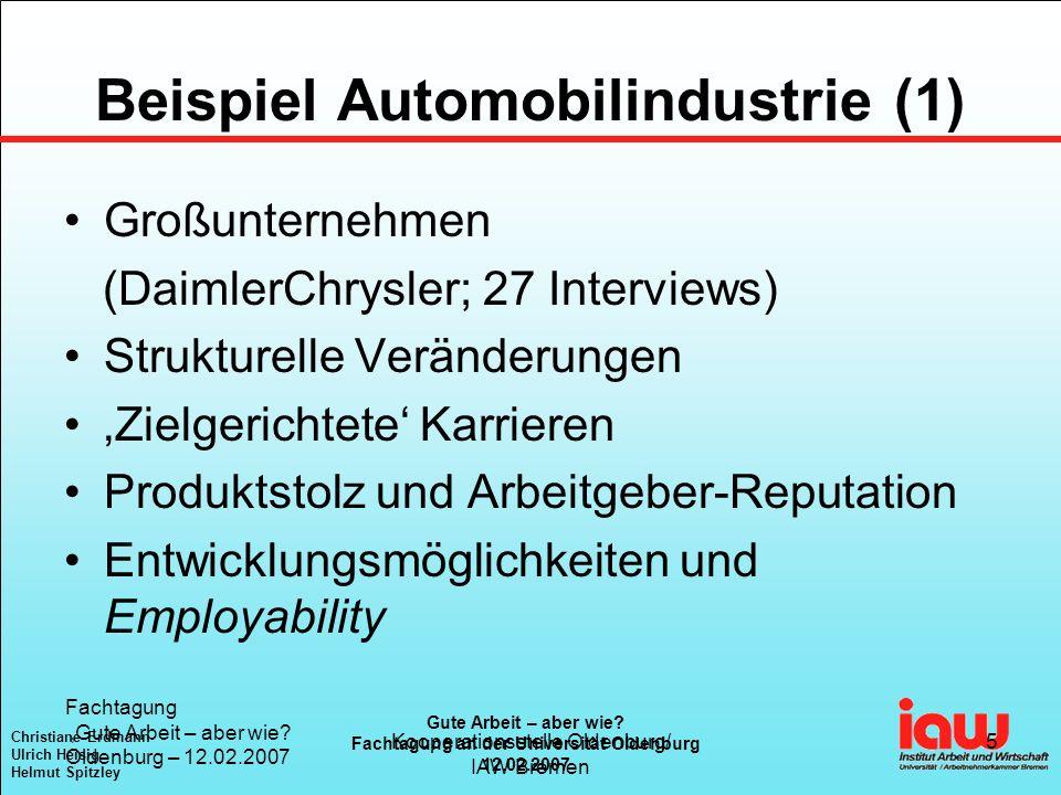 Christiane Erdmann Ulrich Heisig Helmut Spitzley Gute Arbeit – aber wie? Fachtagung an der Universität Oldenburg 12.02.2007 Fachtagung Gute Arbeit – a