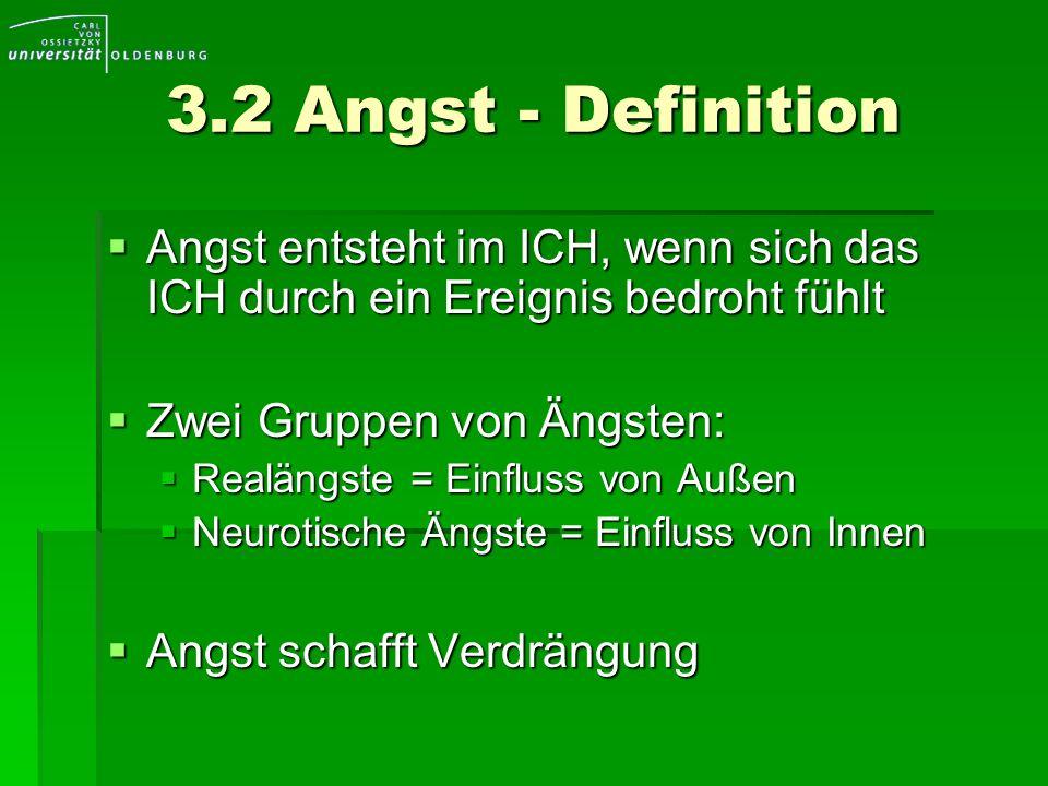 3.2 Angst - Definition Angst entsteht im ICH, wenn sich das ICH durch ein Ereignis bedroht fühlt Angst entsteht im ICH, wenn sich das ICH durch ein Er