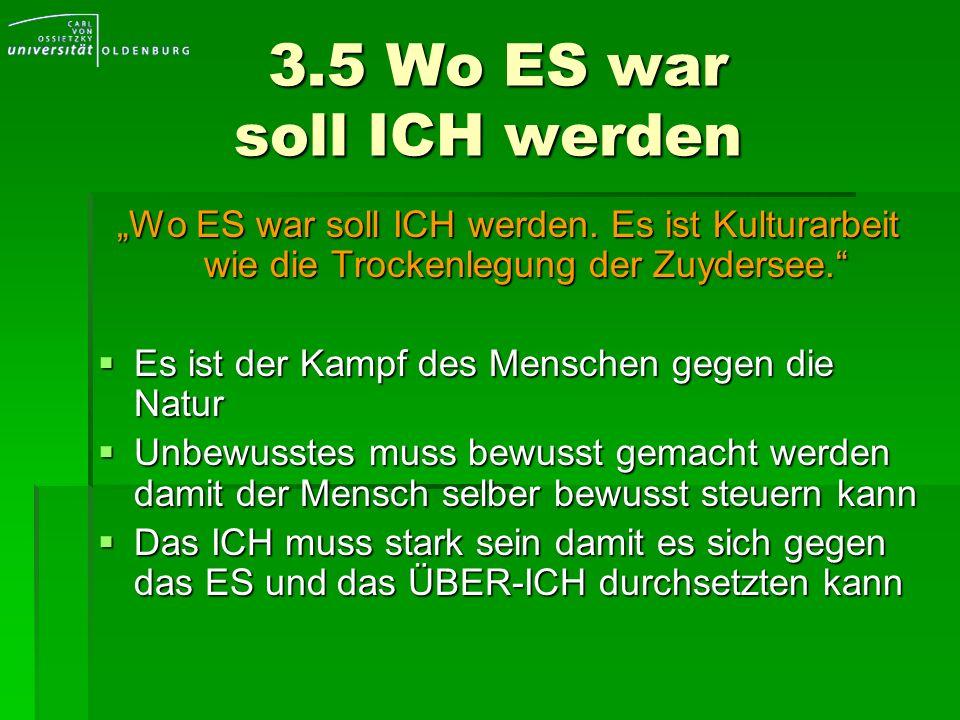 3.5 Wo ES war soll ICH werden 3.5 Wo ES war soll ICH werden Wo ES war soll ICH werden. Es ist Kulturarbeit wie die Trockenlegung der Zuydersee. Es ist