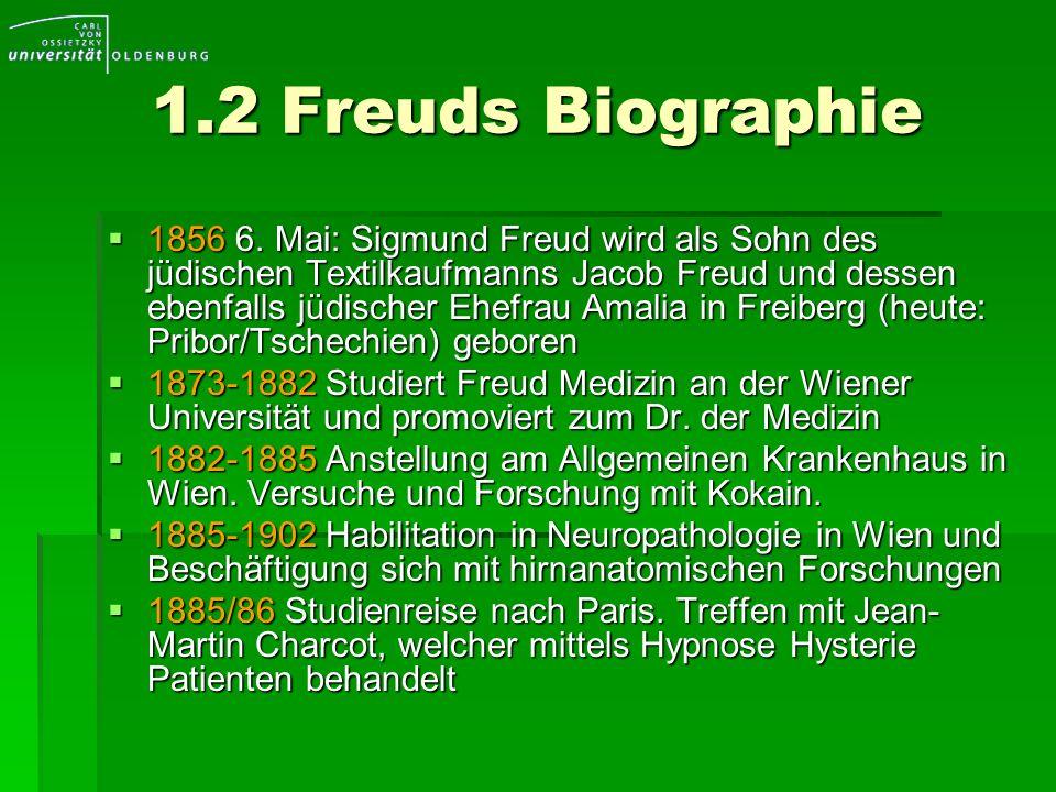 1.2 Freuds Biographie 1856 6. Mai: Sigmund Freud wird als Sohn des jüdischen Textilkaufmanns Jacob Freud und dessen ebenfalls jüdischer Ehefrau Amalia